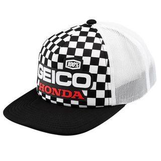 100% Geico Honda Indy Black & White Trucker Hat