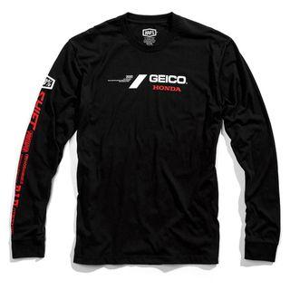100% Geico Honda Raceday Black Long Sleeve T-Shirt