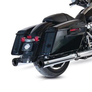 "S&S Grand National Slip-On Mufflers Chrome with Black End Caps - 4"" for 2017-20 M8 Touring Models"