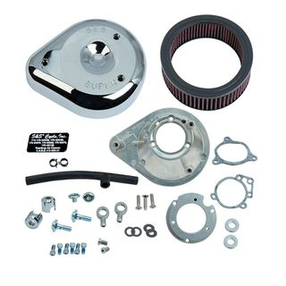 S&S Teardrop Air Cleaner Kit for 2008-'16 HD Touring Stock-Bore Throttle By Wire and 2016-'17 Softail (except Tri-Glide & CVO) Models - Chrome