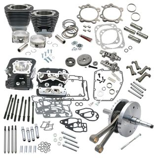"S&S 124"" Hot Set Up Kit With S&S Cylinder Heads For  2006 HD Dyna models and all 2007-'17 Non-Balanced Big Twins - Wrinkle Black"