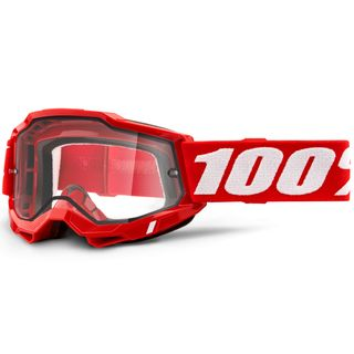 100% Accuri2 Enduro Moto Goggle Red Clear Lens