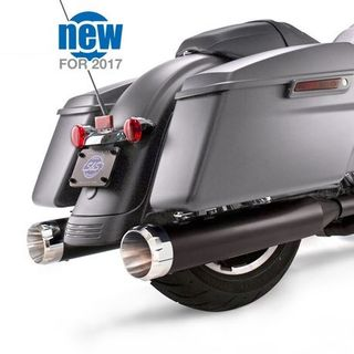 "S&S Mk45 Slip-On Mufflers Ceramic Black with Chrome Thruster End Caps - 4.5"" for 2017-'20 M8 Touring Models"