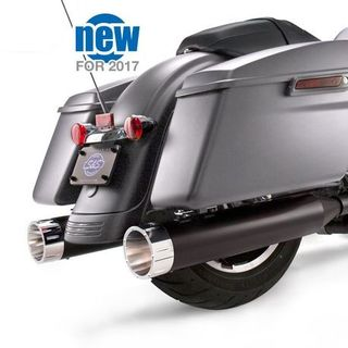 "S&S Mk45 Slip-On Mufflers Ceramic Black with Chrome Tracer End Caps - 4.5"" for 2017-'20 M8 Touring Models"