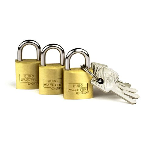 'C-Line' 20mm  PADLOCK * 3-PACK  - CARDED  (KA)