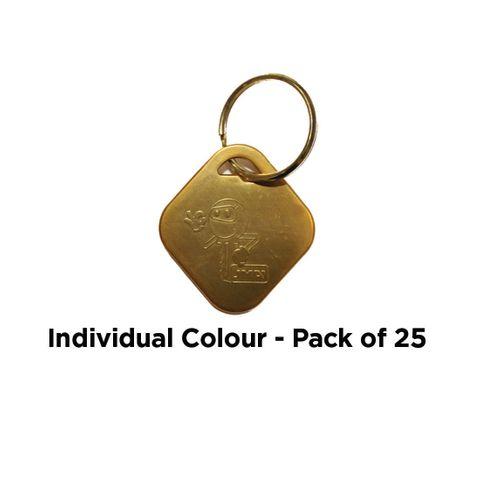'Aluminium' KEY RING - Pkt of 25 *Yellow*