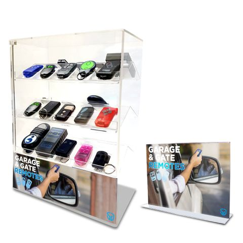 'Garage Remote' Pkg - Remotes+ Perspex Display Case+ Sign+ Book