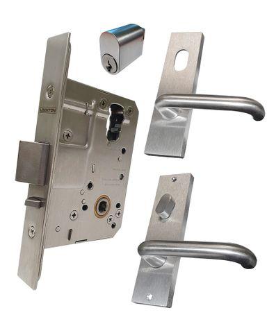'60mm' Mortice Lock KIT (ENTRANCE) - Inc. Lock, Furniture & Cylinder