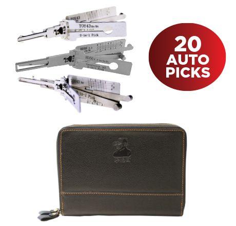 'Lishi' STARTER KIT - Includes 20 x Popular Lishi Picks in Leather 24-Place Tool Case