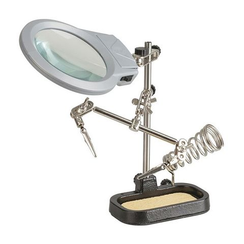 PCB HOLDER w/ MAGNIFYING GLASS