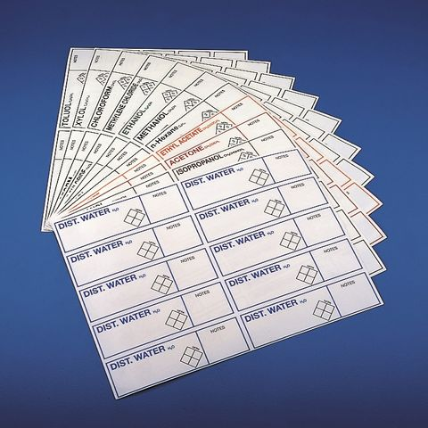 IDENTIFICATION LABELS - FOR BOTTLES - SHEET of 10 (ADHESIVE)