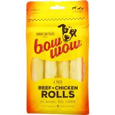 BOW WOW 6x4pk BEEF/CHICK ROO ROLLS