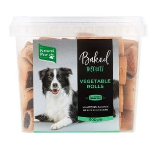 NATURAL PAW CO 6x500g VEG ROLLS BISCUITS