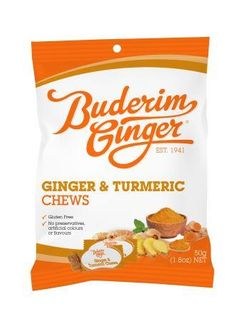BUDERIM 12x50gm GINGER & TURMERIC CHEWS