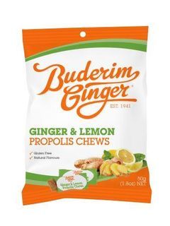 BUDERIM 12x50gm GINGER & LEMON PRP.CHEWS