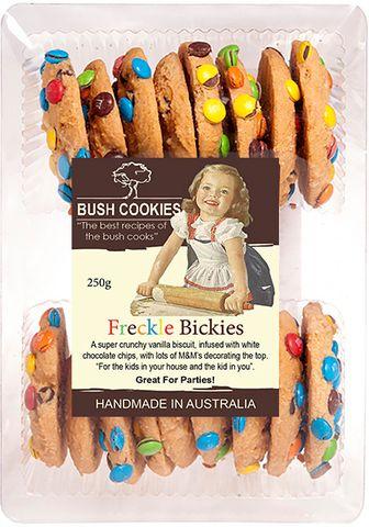 BUSH COOKIES 12x250gm FRECKLE BICKIES