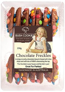 BUSH COOKIES 12x250gm CHOCOLATE FRECKLES