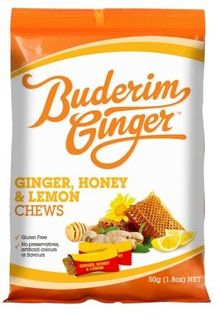 BUDERIM 12x50gm GING/HONEY/LEMON CHEWS