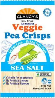 CLANCYS 12x110gm PEA CRISPS SEA SALT