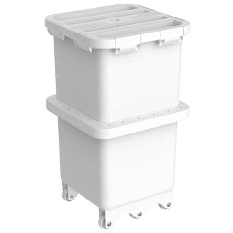 Foodcap FC180UTW - Ultratuff FoodCap ingredient-handling capsule with White clips and wheels