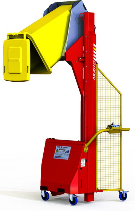 MT1800-3 // Multi-Tip 1800mm bin lifter with 3-phase 415VAC power, EN840 cradle and 150kg capacity