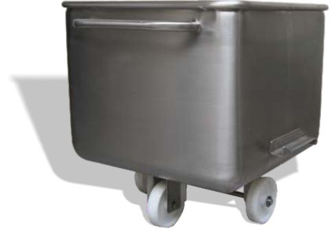 EB200F // Eurobin 200L meat cart, 304 stainless steel, with flat front face and nonmarking wheels