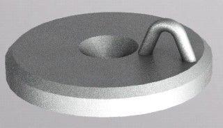 79mm diameter Tiller Top Disc, with welded lug. Zinc Plated