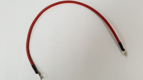 Battery cable, red, 500mm, 2 x  8mm eye lugs Copper