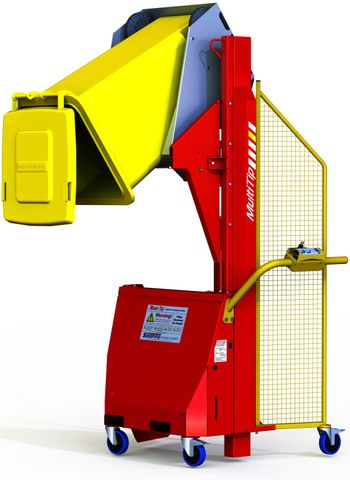 MT1200-1 // Multi-Tip 1200mm bin lifter with 1-phase 230VAC power, EN840 cradle and 150kg capacity