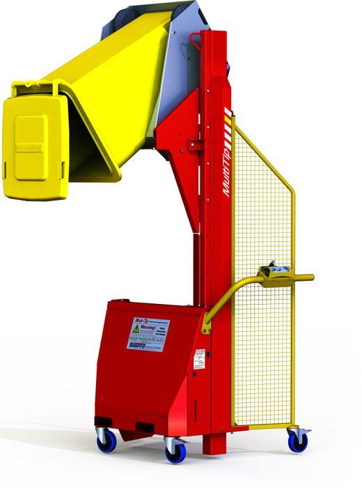 MT1600-B // Multi-Tip 1600mm bin lifter with EN840 cradle, 150kg capacity and 24V/21Ah battery