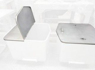 Split lid for 200L Eurobins, stainless steel