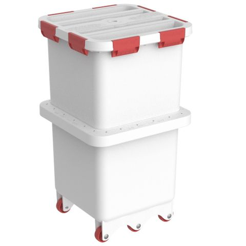 Foodcap FC180UTR - Ultratuff FoodCap ingredient-handling capsule with Red clips and wheels