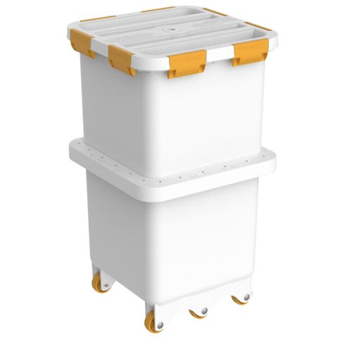 Foodcap FC180UTY - Ultratuff FoodCap ingredient-handling capsule with Yellow clips and wheels