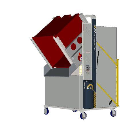 *MD600MB2-1200.1.C) to tip 1200x1200 Megabins @ 1200mm. 1-ph hydraulic. On Castors