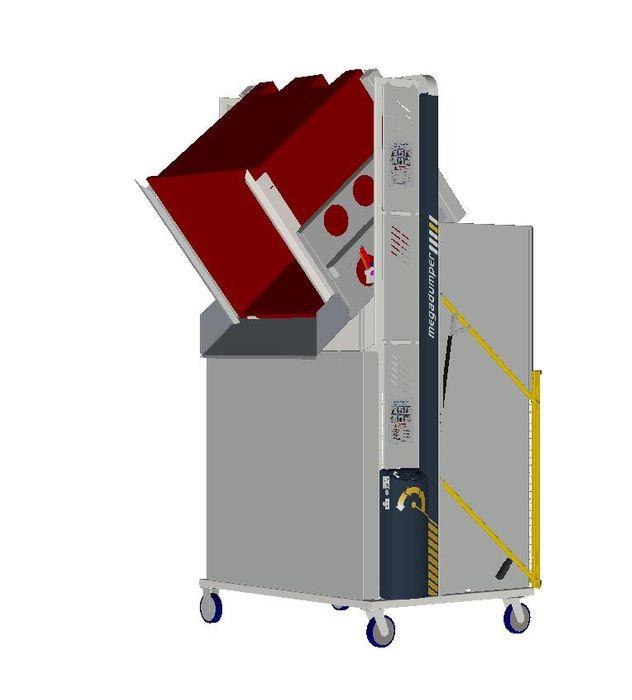*MD600MB2-1800.1.C) to tip 1200x1200 Megabins @ 1800mm. 1-ph hydraulic. On Castors