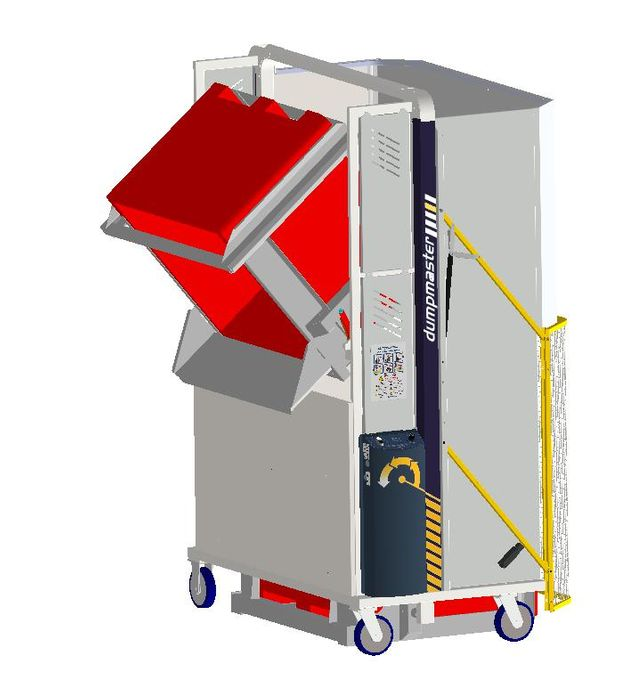 *MD600MB1-1200.1.C) to tip 1000x1200 Megabins @ 1200mm. 1-ph hydraulic. On Castors
