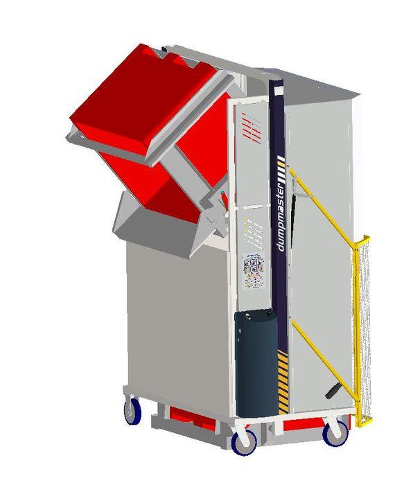 *MD600MB1-1500.1.C) to tip 1000x1200 Megabins @ 1500mm. 1-ph hydraulic. On Castors