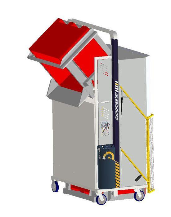 *MD600MB1-1800.1.C) to tip 1000x1200 Megabins @ 1800mm. 1-ph hydraulic. On Castors