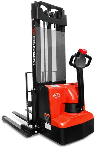 ES12-25WA-4500 - Pro 1.2t electric walkie stacker with straddle outriggers & triplex 4.5m lift