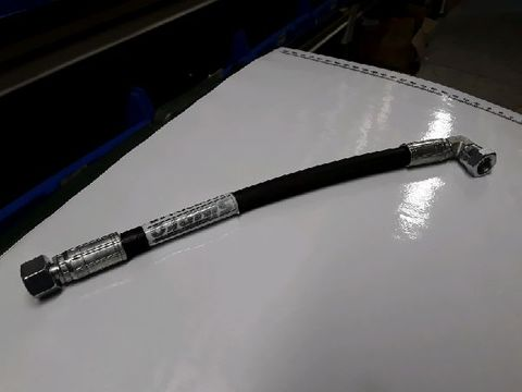 "Hydraulic hose, 1/4"" 1-wire 250mm long with 1/4 BSP Fem str, 1/4 Fem 90deg compact, DM/MT"