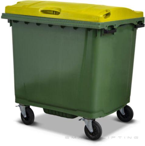 MGB1100-CGY Complete Green/Yellow 1100L Mobile Garbage Bin - Europlast