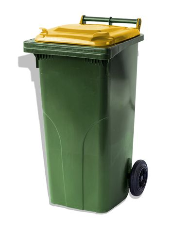 MGB120-CGY Complete Green/Yellow 120L Mobile Garbage Bin - Europlast