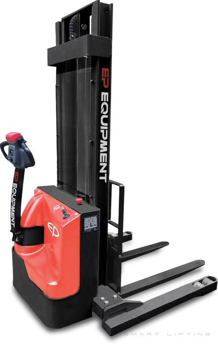 ES15-33DM-3000 - SME 1.5t electric walkie stacker with straddle outriggers & duplex 3.0m lift