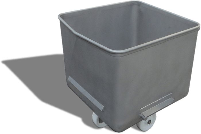 EB200 // Eurobin 200L meat cart, 304 stainless steel, with pouring lip and nonmarking wheels
