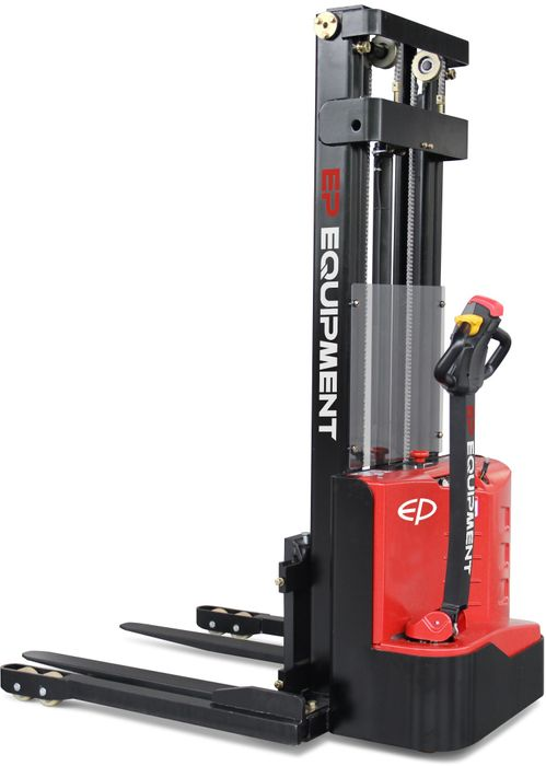 ES10-22DM-2000 - SME 1.0t electric walkie stacker with straddle outriggers and 2.0m lift