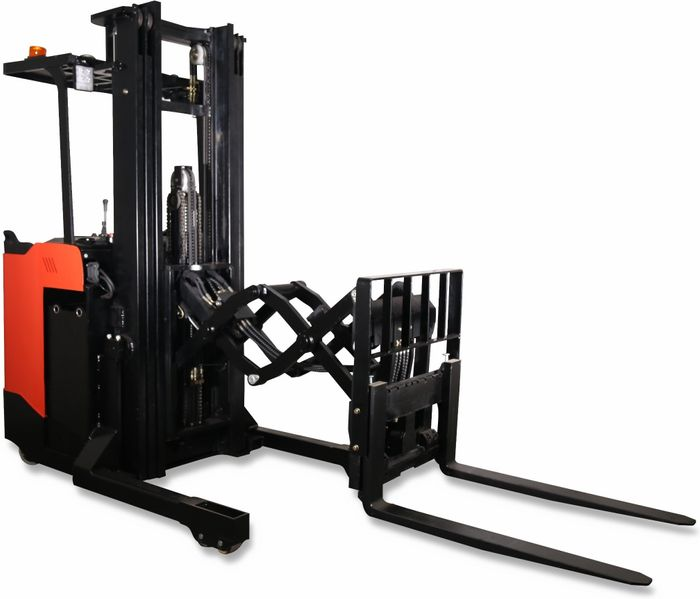 CQD12SSD-3000 - Pro 1.2t standing reach truck with double pantograph, sideshift & duplex 3.0m lift