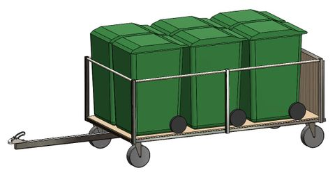 BinBus 6240 - Bin transport trailer for 6 x 240L EN840 wheelie bins