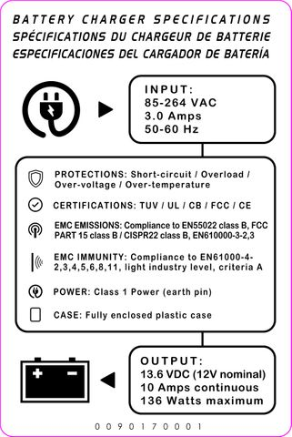 Decal, 12V Charger Specifications - 2019 design