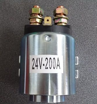 Motor solenoid 24v round silver 200A