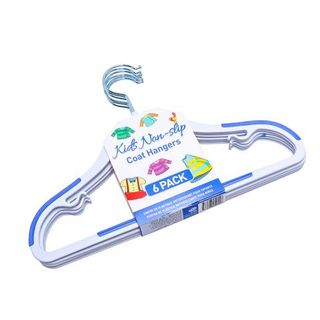 KIDS HANGER PLASTIC N/SLIP 6PK